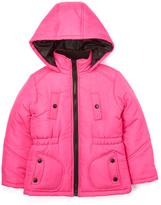 KC Collections Fuchsia Elastic Waistband Puffer Coat - Girls