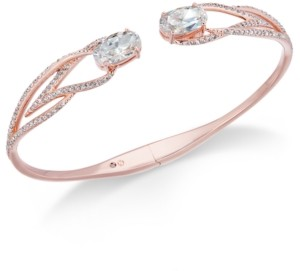 Eliot Danori Rose Gold-Tone Crystal Hinged Bangle Bracelet, Created for Macy's