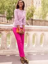 Talbots Mixed-Stripe Flounce-Sleeves & Ruffles Shirt
