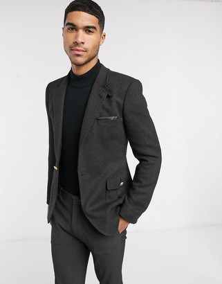ASOS DESIGN skinny blazer with military tabs in charcoal wool mix twill