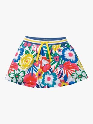 Boden Girls' Jersey Floral Skorts, Multi Tropical Bloom