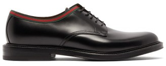 Gucci Beyond Web-stripe Leather Derby Shoes - Black