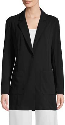Halston H One-Button Boyfriend Jacket