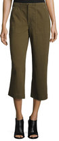 Rag & Bone Denny Cropped Wide-Leg Pants, Army Green