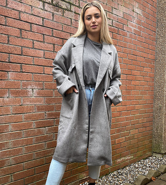 Native Youth Plus relaxed long line coat with patch pockets in grey marl