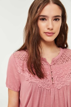 Ardene Buttoned Lace Tee
