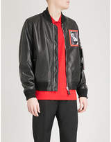 Givenchy Patch-print Leather Bomber Jacket