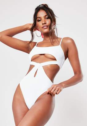 Missguided White Rib High Leg Cut Out Swimsuit