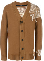 No.21 reversed intarsia detail cardigan - men - Polyamide/Mohair/Wool/Virgin Wool - 44