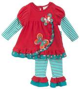 Rare Editions Baby Girls Coral Tunic With Butterfly and Striped Leggings