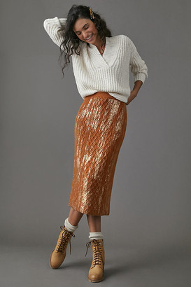 Anthropologie Rue Shimmer Sweater Midi Skirt By in Brown Size XS