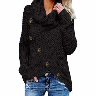 YiMiny Sweater Women Jumper Pullover Button Long Sleeve Sweatshirt Pullover Tops Blouse Shirt Black