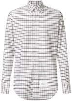 Thom Browne Classic Long Sleeve Point Collar Button Down Shirt With Grosgrain Placket In Windowpane Tartan Oxford