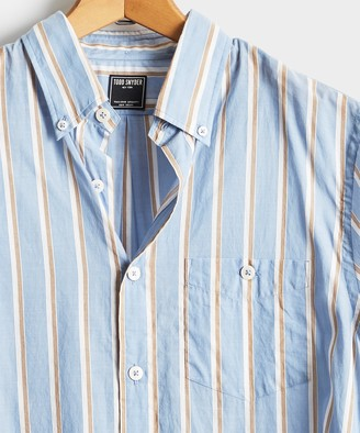 Todd Snyder Blue Stripe Button Down Collar Long Sleeve Shirt
