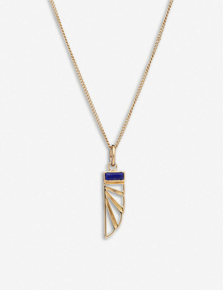 Rachel Jackson Be Free 22ct gold-plated sterling silver and lapis lazuli wing necklace