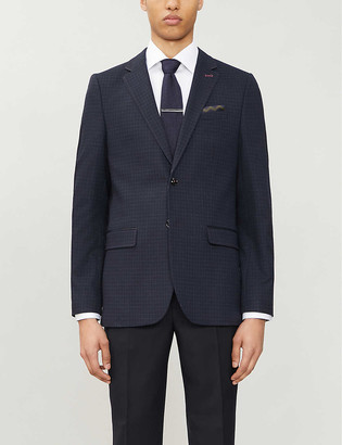 Ted Baker Micro-check regular-fit stretch-woven blazer