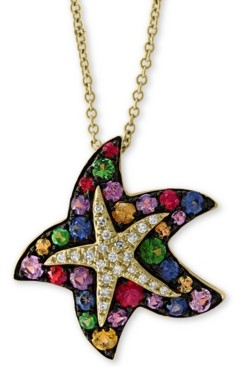 "Effy Multi-Sapphire (1-1/10 ct. t.w.) & Diamond (1/10 ct. t.w.) 18"" Starfish Pendant Necklace in 14k Gold"