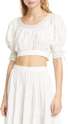Ulla Johnson Zola Beaded Crop Top