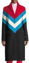 MSGM Chevron Snap-Front Wool-Knit Overcoat