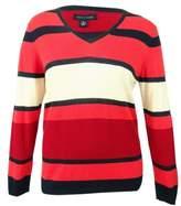 Tommy Hilfiger Women's Striped V-Neck Sweater (XL, Multi)