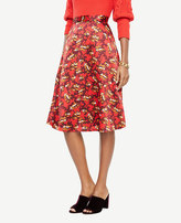 Ann Taylor Printed Satin Fit And Flare Skirt