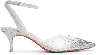 Christian Louboutin Spikaqueen 55 PVC blue glitter pumps