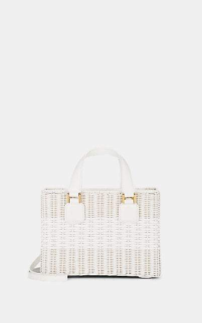 Mark Cross Women's Manray Small Leather-Trimmed Rattan Tote Bag - White