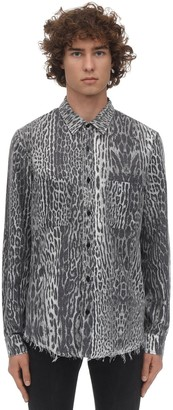 Amiri LEOPARD PRINT COTTON FLANNEL SHIRT