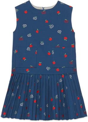 Gucci Apple & Logo Pleat Drop Waist Dress
