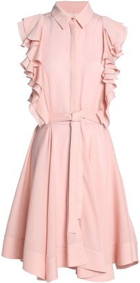 Antonio Berardi Ruffled Silk-satin Crepe Mini Shirtdress