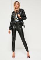 Missguided Black Faux Leather Glitter Leggings