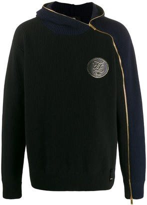Fendi off-centre zip fastening jumper