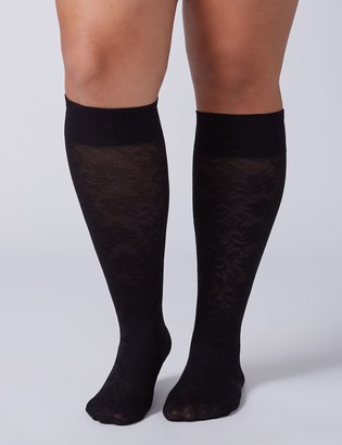 Lane Bryant Solid & Lace Trouser Socks 2-Pack