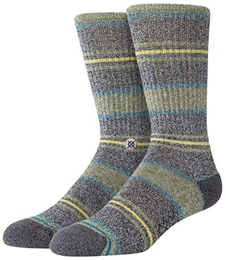 Stance Defeat Crew (Green) Men's Crew Cut Socks Shoes