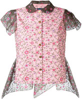 Kolor cap sleeve floral shirt - women - Cotton/Polyester - 3