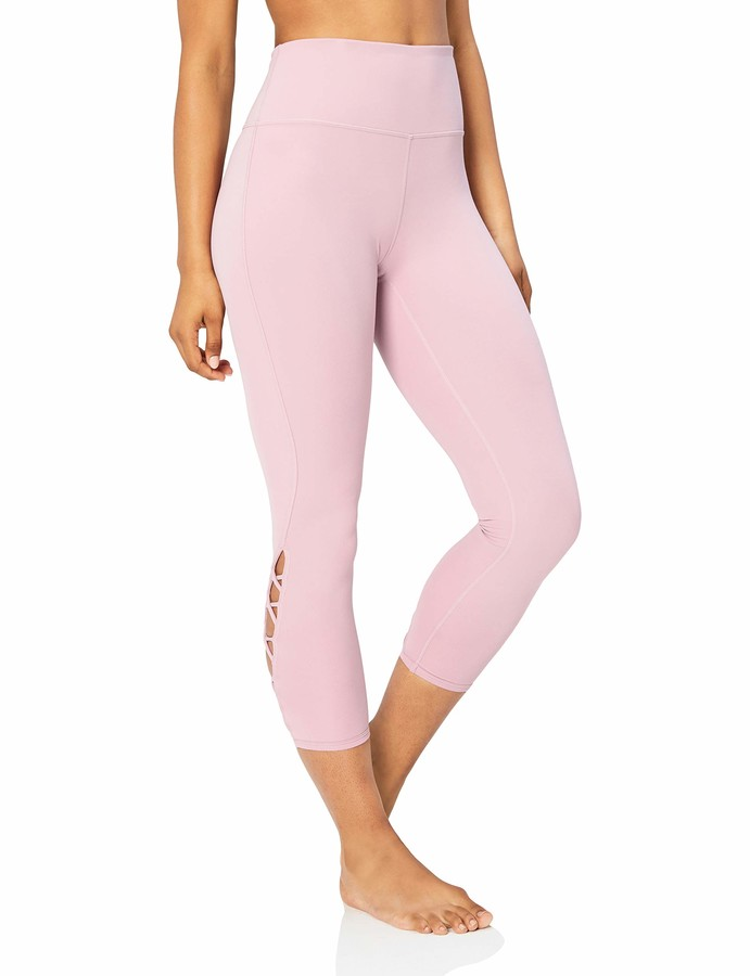 "Core 10 Women's Lattice 7/8 Yoga Crop 24"" Leggings Purple (mauve) Small"