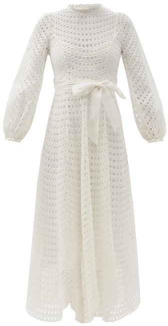 Zimmermann Poppy Embroidered-eyelet Belted Midi Dress - Ivory