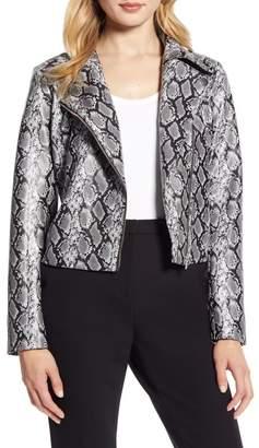Halogen Snakeskin Print Faux Leather Moto Jacket