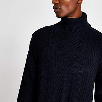 River Island Navy slim fit knitted roll neck jumper