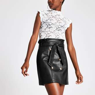 River Island Womens Black faux leather paperbag mini skirt