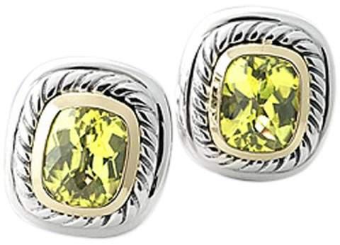 "David Yurman Sterling Silver & 14K Yellow Gold Peridot "" Albion"" Earrings"
