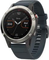 Garmin Men's fenix 5 Blue Silicone Convertible Strap Smart Watch 47mm 010-01688-01