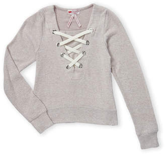 Poof Girl (Girls 7-16) Pink Long Sleeve Lace-Up Top