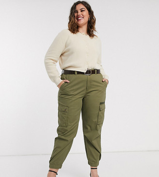 Only Curve Only curve cargo trousers in khaki-Green