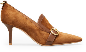 Gianvito Rossi Suede Leather-Buckle Loafer Pumps