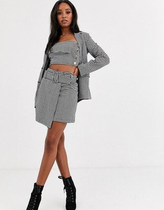 4th + Reckless wrapover asymmetric skirt with belt in houndstooth print-Multi
