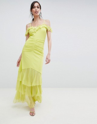 Bardot Asos Design ASOS DESIGN cami dobby ruffle fishtail maxi dress-Yellow