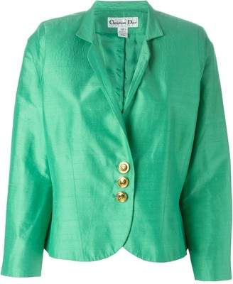 Christian Dior Pre-Owned brushed satin cropped jacket