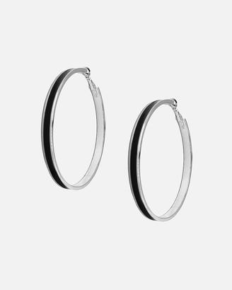Express Tuleste Large Silver Enamel Channel Hoop Earrings