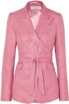 Gabriela Hearst Nutter Belted Wool, Silk And Linen-blend Blazer